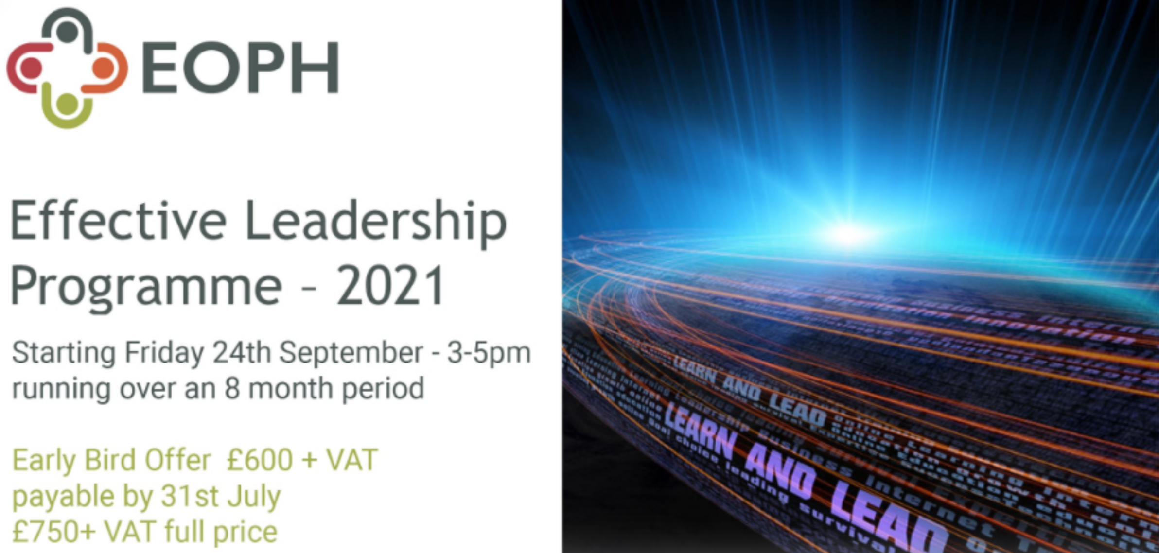 Effective Leadership Programme | 8 month course | Starting 24th September 2021 3-5pm | via Zoom