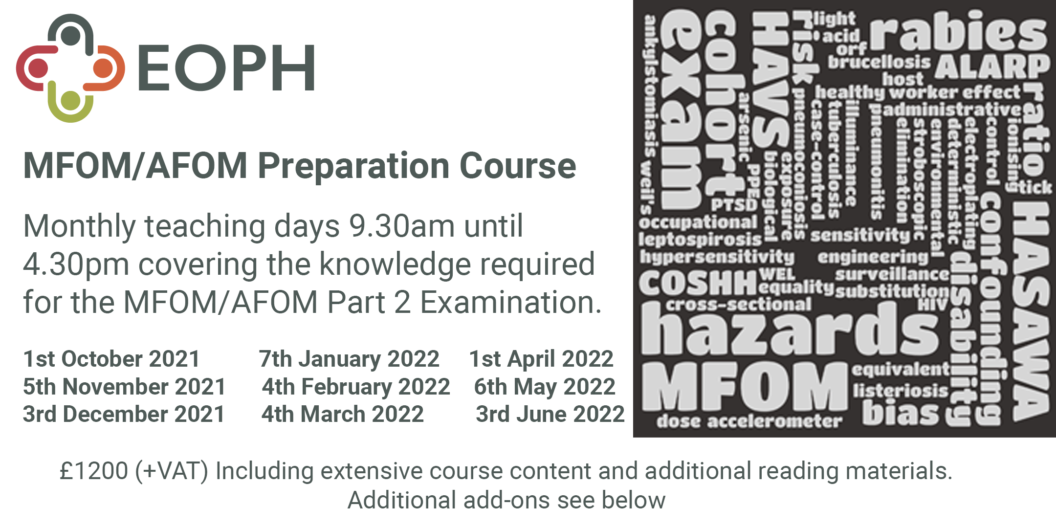 MFOM/AFOM Preparation Course   9 session monthly course   Starting 1st October 2021 9.30am - 4.30pm   via Zoom